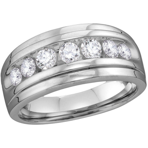 10kt White Gold Mens Round Diamond Band Wedding Anniversary Ring 7/8 Cttw 114037 - shirin-diamonds
