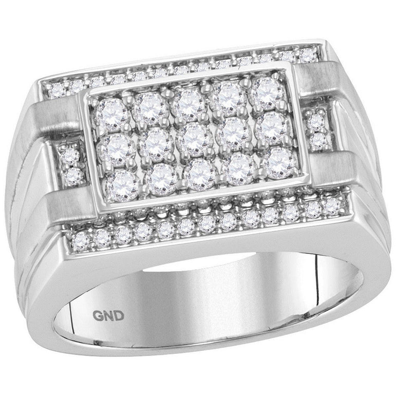 14kt White Gold Mens Round Diamond Square Cluster Ring 1.00 Cttw 114169 - shirin-diamonds