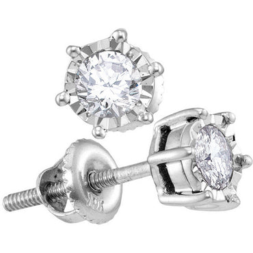 10kt White Gold Womens Round Diamond Solitaire Screwback Stud Earrings 1/4 Cttw 114184 - shirin-diamonds