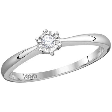 10kt White Gold Womens Round Diamond Solitaire Bridal Wedding Engagement Ring 1/12 Cttw 114198 - shirin-diamonds