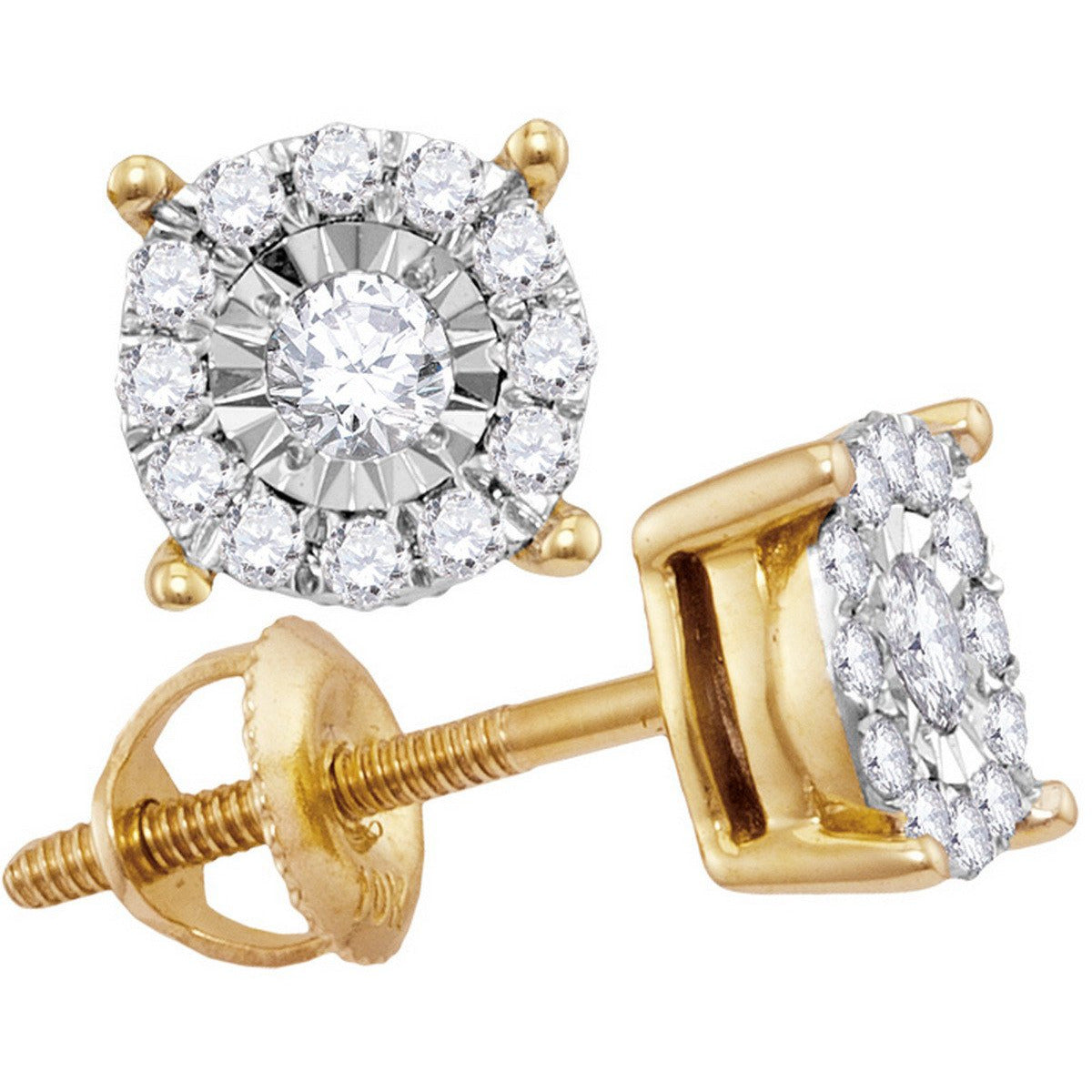 10kt Yellow Gold Womens Round Diamond Solitaire Cluster Stud Earrings 1/4 Cttw 114199 - shirin-diamonds