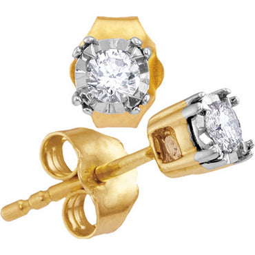 10kt Yellow Gold Womens Round Diamond Solitaire Screwback Stud Earrings 1/6 Cttw 114293 - shirin-diamonds