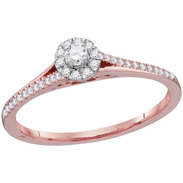 10kt Rose Gold Womens Round Diamond Solitaire Bridal Wedding Engagement Ring 1/5 Cttw 114468 - shirin-diamonds