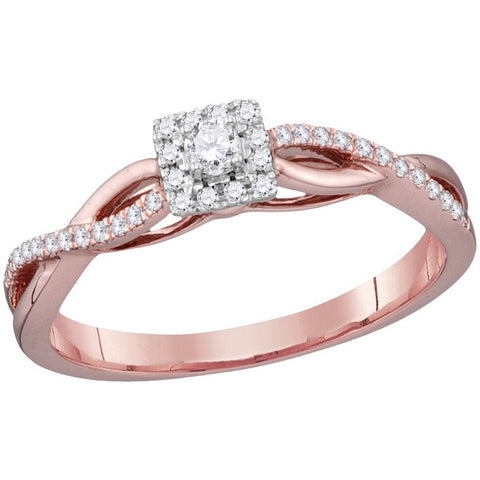 10kt Rose Gold Womens Round Diamond Solitaire Twist Bridal Wedding Engagement Ring 1/5 Cttw 114471 - shirin-diamonds