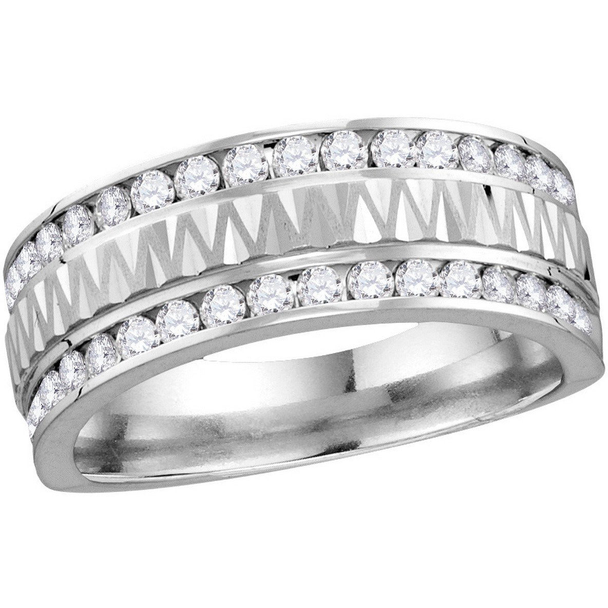 14kt White Gold Mens Round Diamond Grecco Band Wedding Anniversary Ring 1.00 Cttw 114550 - shirin-diamonds