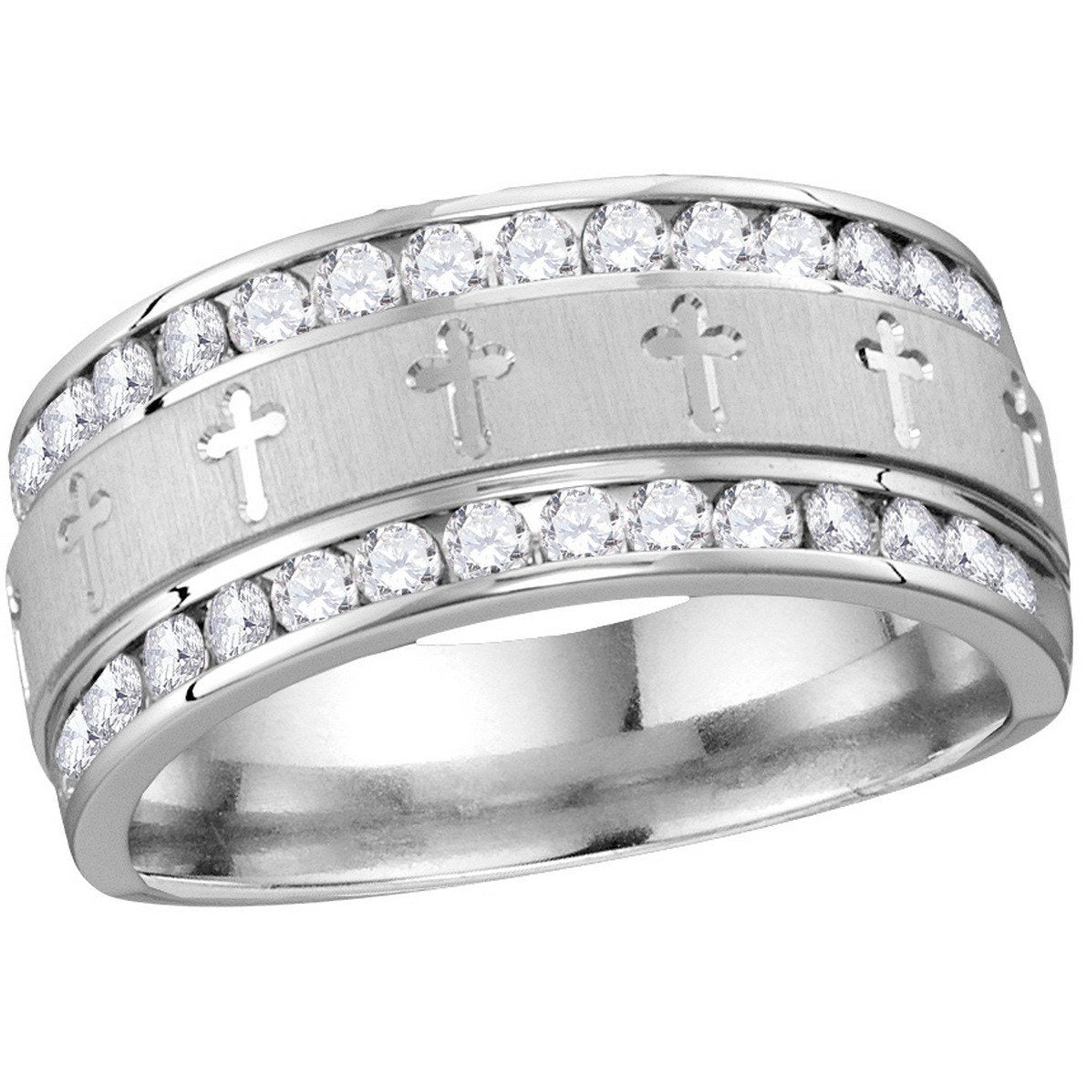 14k White Gold Mens Round Diamond Grecco Christian Cross Wedding Anniversary Band Ring 1.00 Cttw 114561 - shirin-diamonds