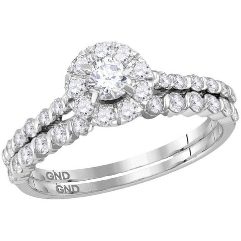 14kt White Gold Womens Round Diamond Halo Bridal Wedding Engagement Ring Band Set 1.00 Cttw 114595 - shirin-diamonds