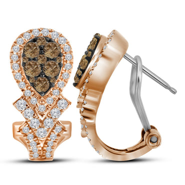 10kt Rose Gold Womens Round Cognac-brown Colored Diamond Cluster Hoop Earrings 1.00 Cttw 114644 - shirin-diamonds