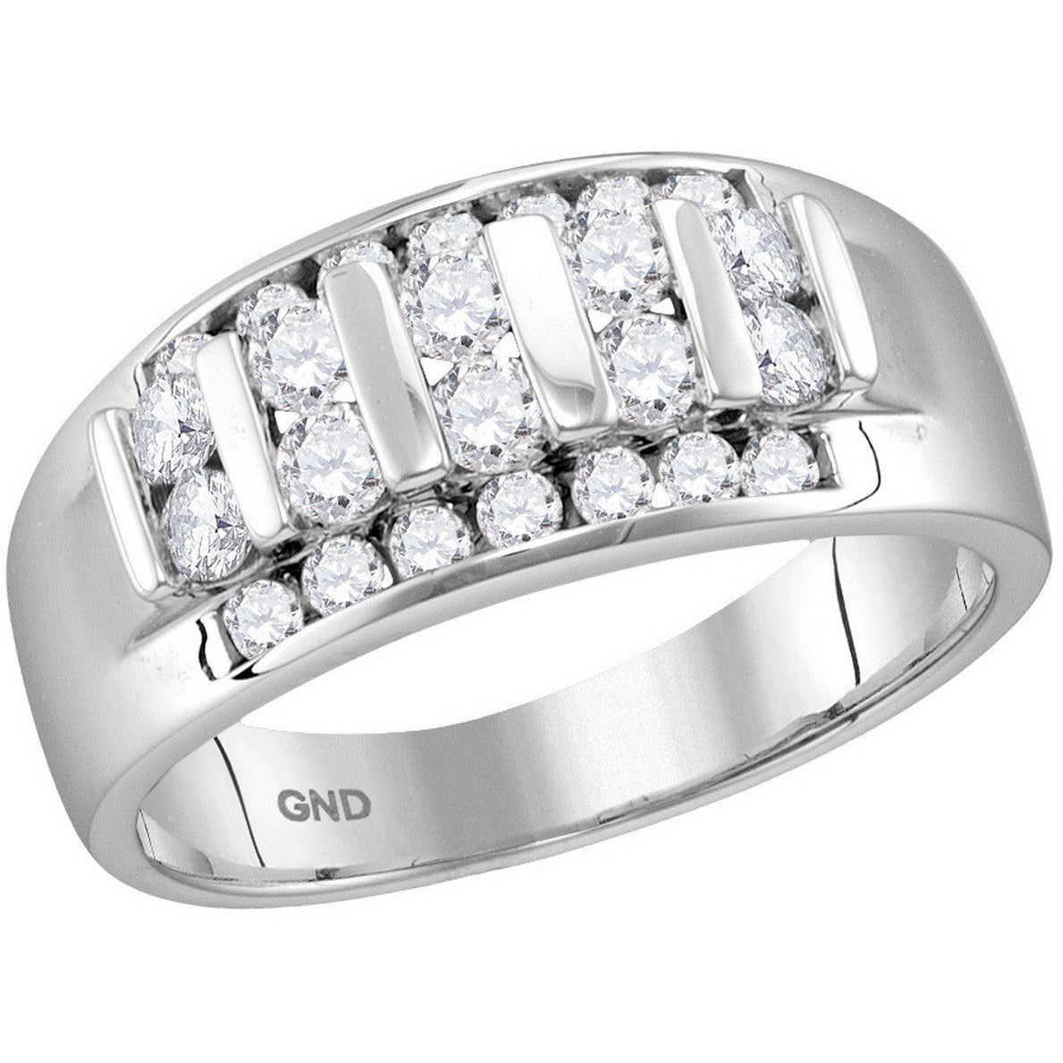 10kt White Gold Mens Round Channel-set Diamond Raised Wedding Band 1.00 Cttw 114752 - shirin-diamonds