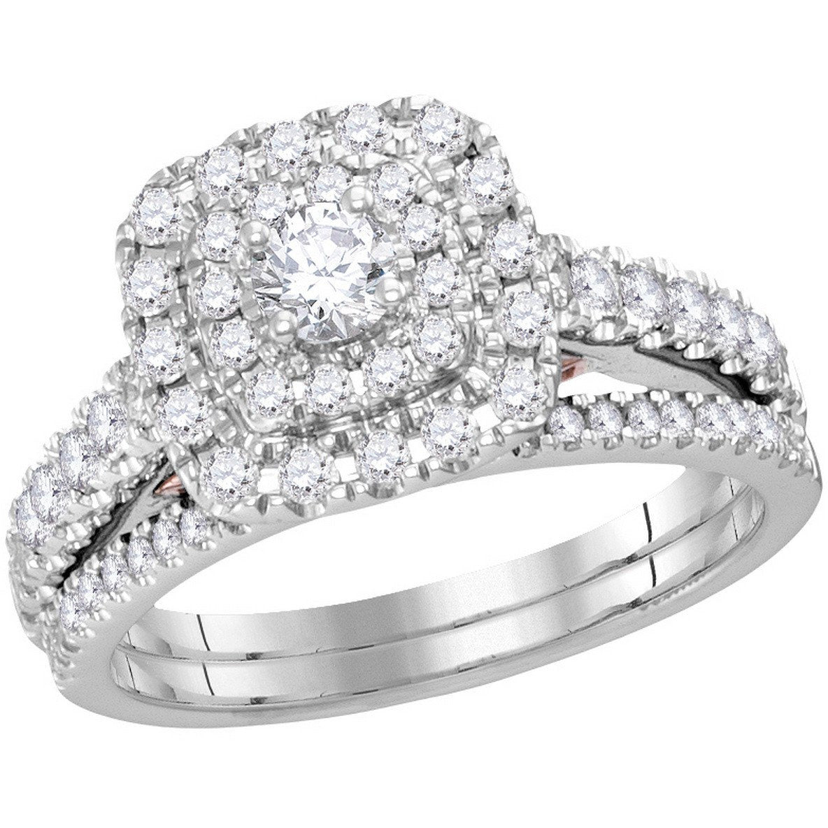 14kt White Gold Womens Round Diamond Double Square Halo Bridal Wedding Engagement Ring Band Set 1.00 Cttw 114800 - shirin-diamonds