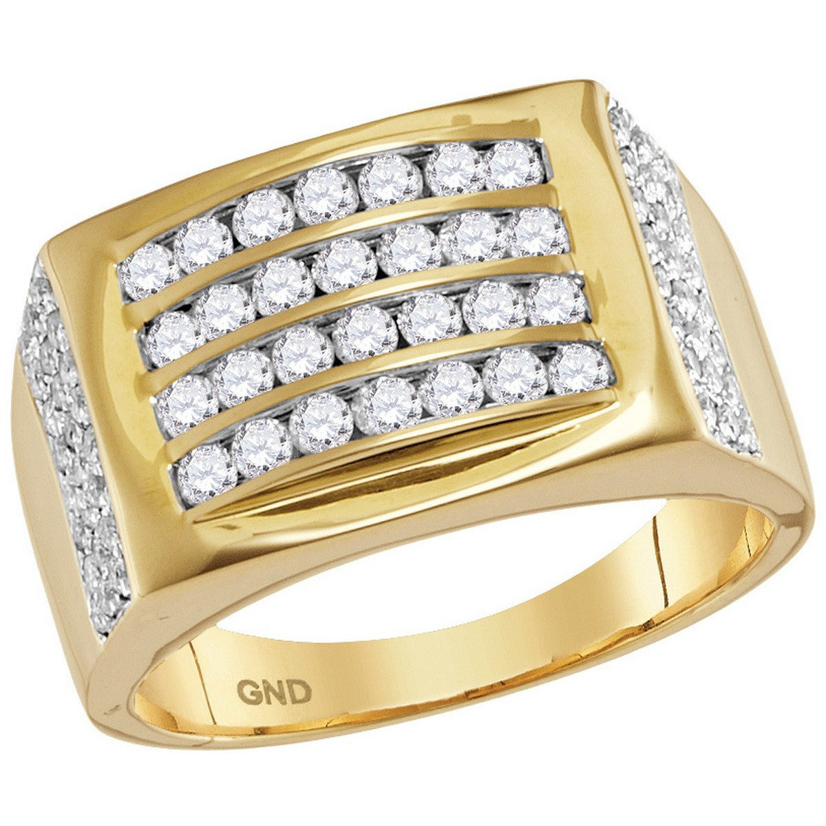 14kt Yellow Gold Mens Round Diamond Arched Square Cluster Ring 1-1/3 Cttw 114810 - shirin-diamonds