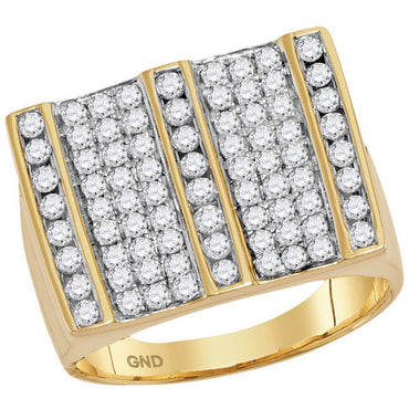 14kt Yellow Gold Mens Round Diamond Square Striped Cluster Ring 1-3/4 Cttw 114813 - shirin-diamonds