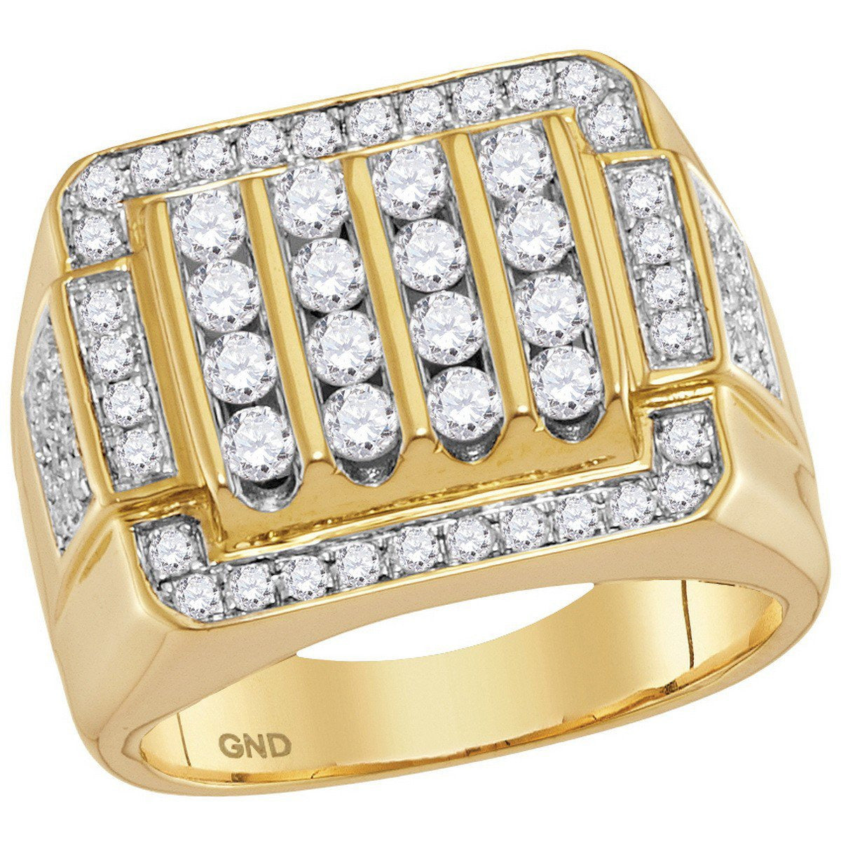 10kt Yellow Gold Mens Round Diamond Square Cluster Ring 2.00 Cttw 114815 - shirin-diamonds