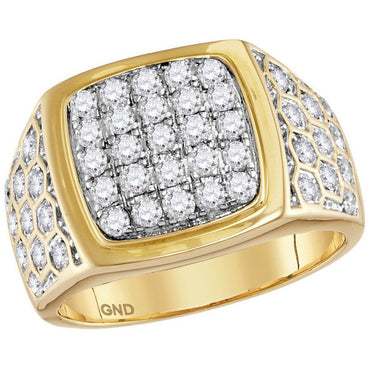 14kt Yellow Gold Mens Round Diamond Square Cluster Honeycomb Ring 1-3/4 Cttw 114820 - shirin-diamonds