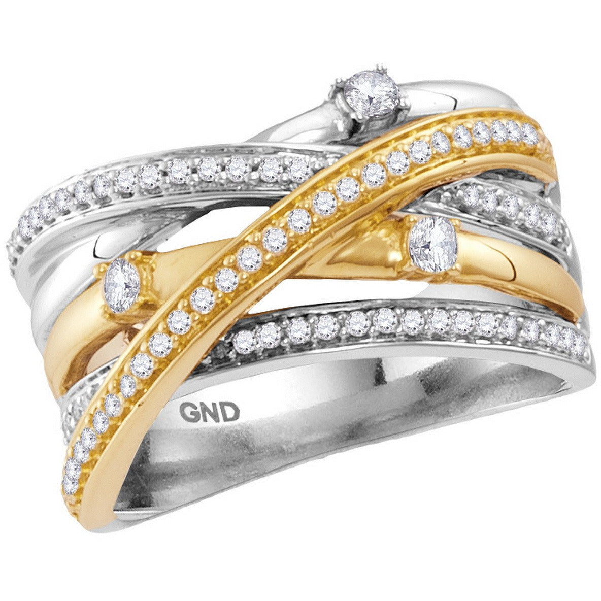 14kt Two-tone White Yellow Gold Womens Round Diamond Crossover Band Ring 1/2 Cttw 114825 - shirin-diamonds