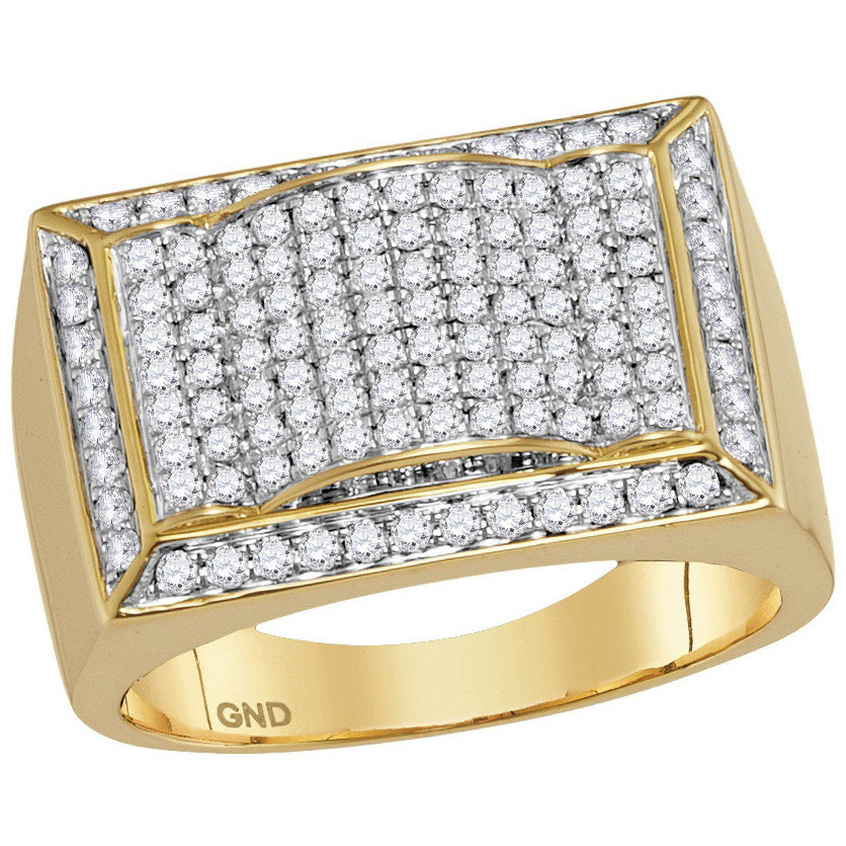 10kt Yellow Gold Mens Round Diamond Rectangle Domed Cluster Ring 1-1/3 Cttw 114848 - shirin-diamonds