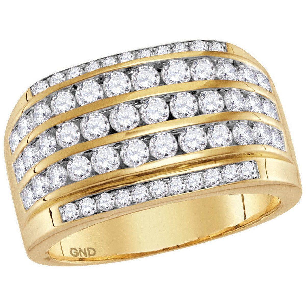 14kt Yellow Gold Mens Round Diamond Striped Wedding Anniversary Band Ring 2-1/3 Cttw 114851 - shirin-diamonds