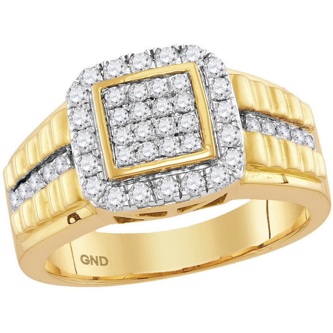 10kt Yellow Gold Mens Round Diamond Square Frame Cluster Ring 1.00 Cttw 114948 - shirin-diamonds