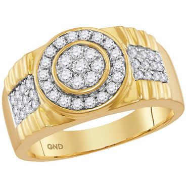10kt Yellow Gold Mens Round Diamond Concentricle Circle Flower Cluster Ring 7/8 Cttw 114950 - shirin-diamonds