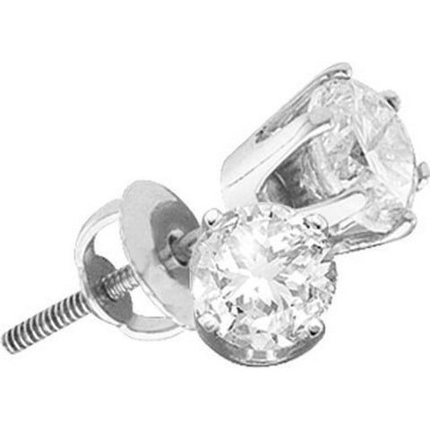 14kt White Gold Womens Round Diamond Solitaire SI3 HI Screwback Stud Earrings 3/4 Cttw 114960 - shirin-diamonds