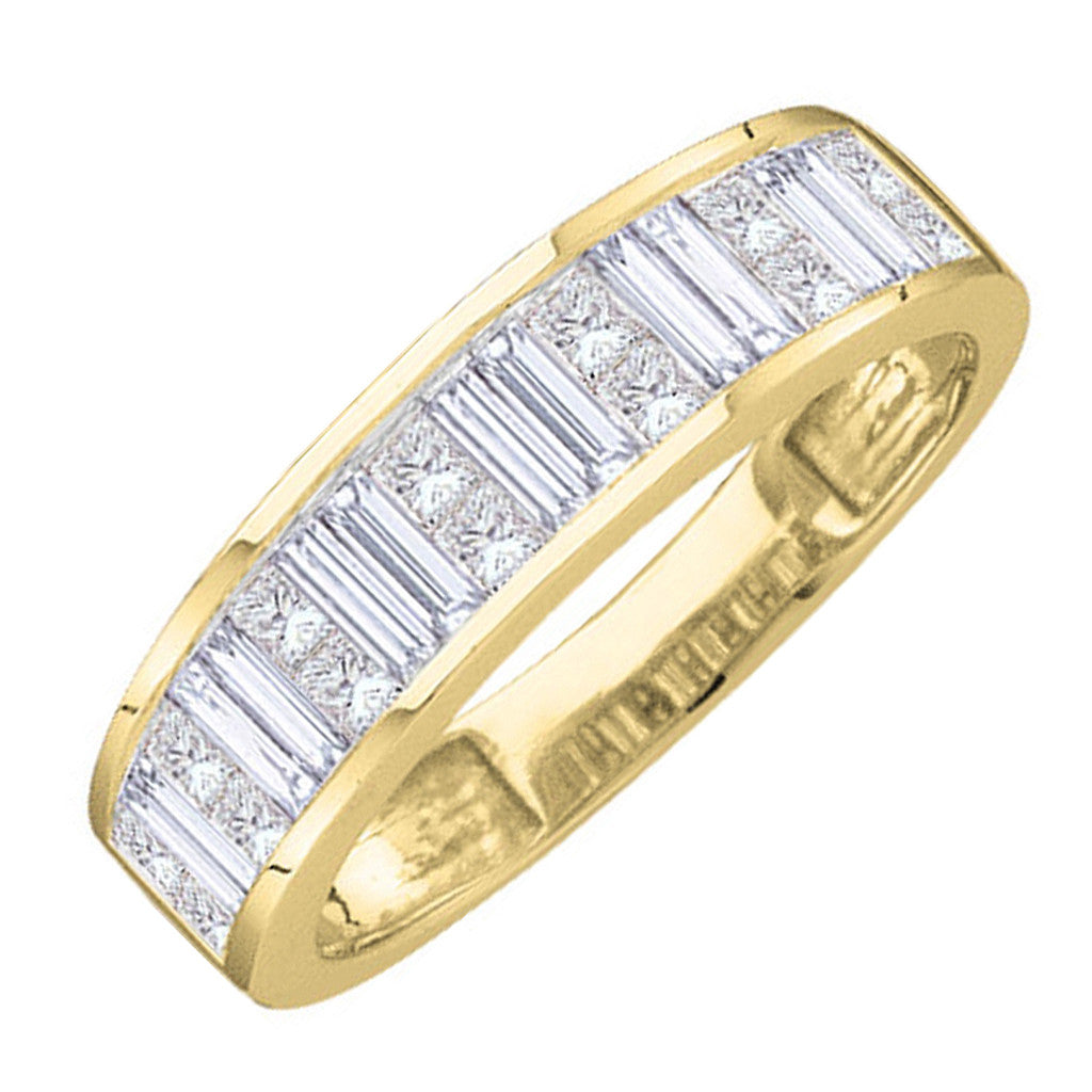 14kt Yellow Gold Womens Baguette & Princess Diamond Wedding Anniversary Band 1.00 Cttw 11505 - shirin-diamonds
