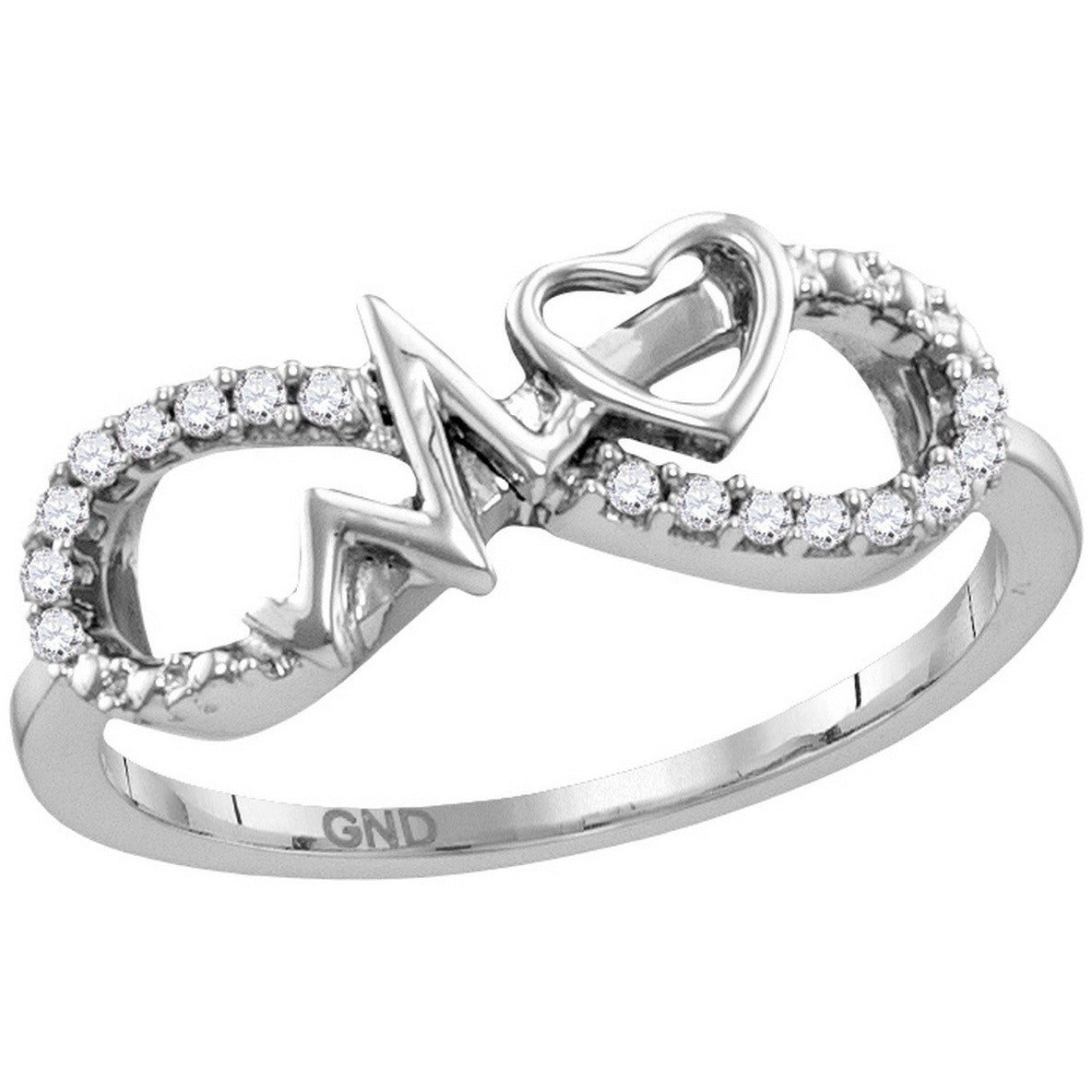 Sterling Silver Womens Round Diamond Infinity Heartbeat Ring 1/10 Cttw 115060 - shirin-diamonds