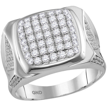10kt White Gold Mens Round Diamond Square Cluster Ring 2.00 Cttw 115260 - shirin-diamonds