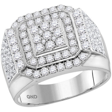 10kt White Gold Womens Round Diamond Double Frame Square Cluster Ring 2-1/2 Cttw 115270 - shirin-diamonds