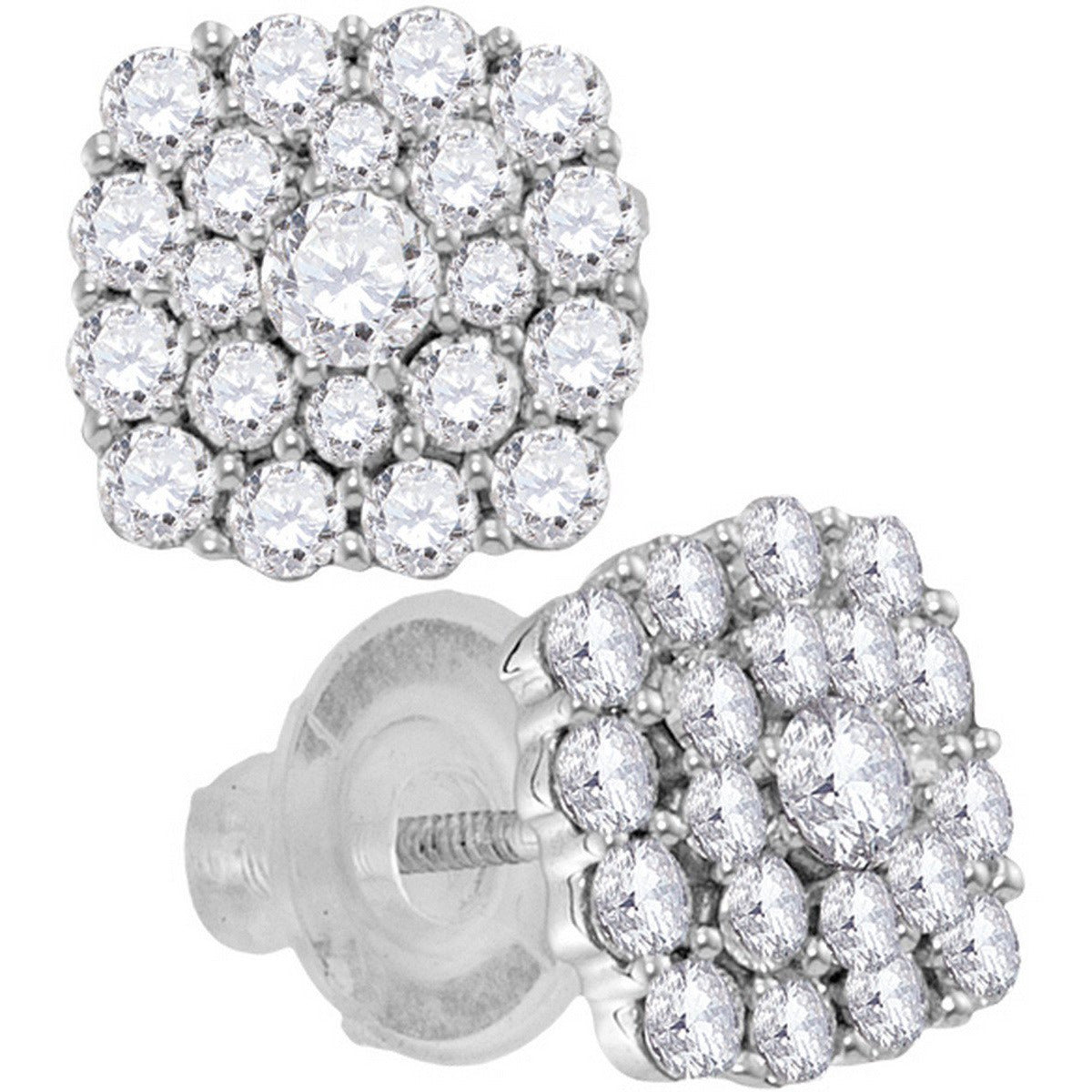 14kt White Gold Womens Round Diamond Cluster Earrings 1.00 Cttw 115449 - shirin-diamonds