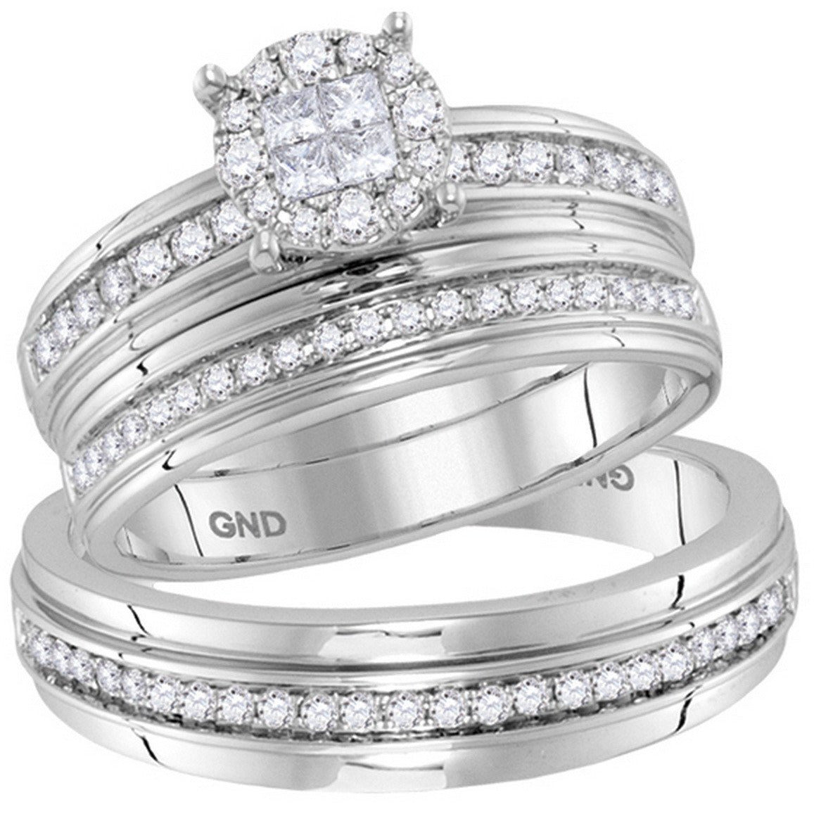 14kt White Gold His & Hers Diamond Soleil Cluster Matching Bridal Wedding Ring Band Set 5/8 Cttw 115481 - shirin-diamonds