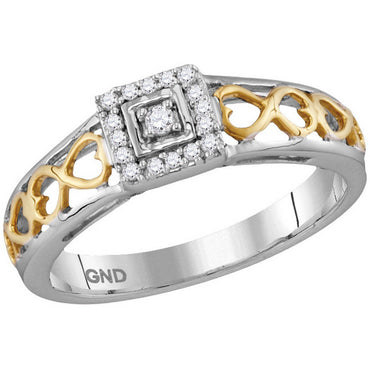 10kt Two-tone Gold Womens Round Diamond Solitaire Bridal Wedding Engagement Ring 1/10 Cttw 115773 - shirin-diamonds