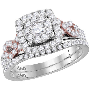14kt White Gold Womens Round Diamond Cluster Bridal Wedding Engagement Ring Band Set 1.00 Cttw 116067 - shirin-diamonds