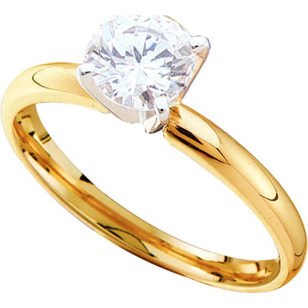 14kt Yellow Gold Womens Round Diamond I1 JK Solitaire Bridal Wedding Engagement Ring 1.00 Cttw 11702 - shirin-diamonds