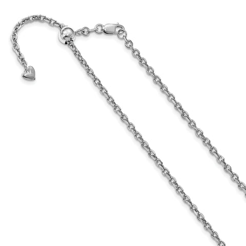Leslie 14K White Gold 2.5 mm Adjustable Semi Solid D/C Cable Chain 1210