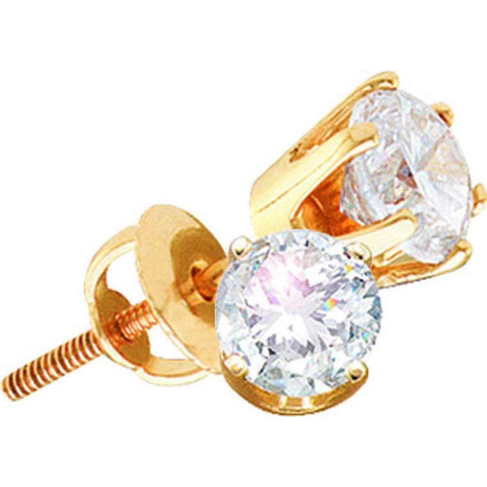 14kt Yellow Gold Womens Round Diamond Solitaire I1 GH Screwback Stud Earrings 3/4 Cttw 12207 - shirin-diamonds