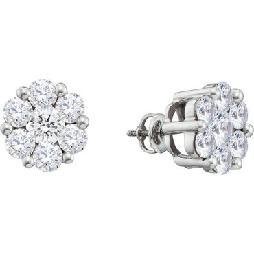 14k White Gold Round Diamond Flower Cluster Womens Large Screwback Stud Earrings 1-1/2 Cttw 12392 - shirin-diamonds