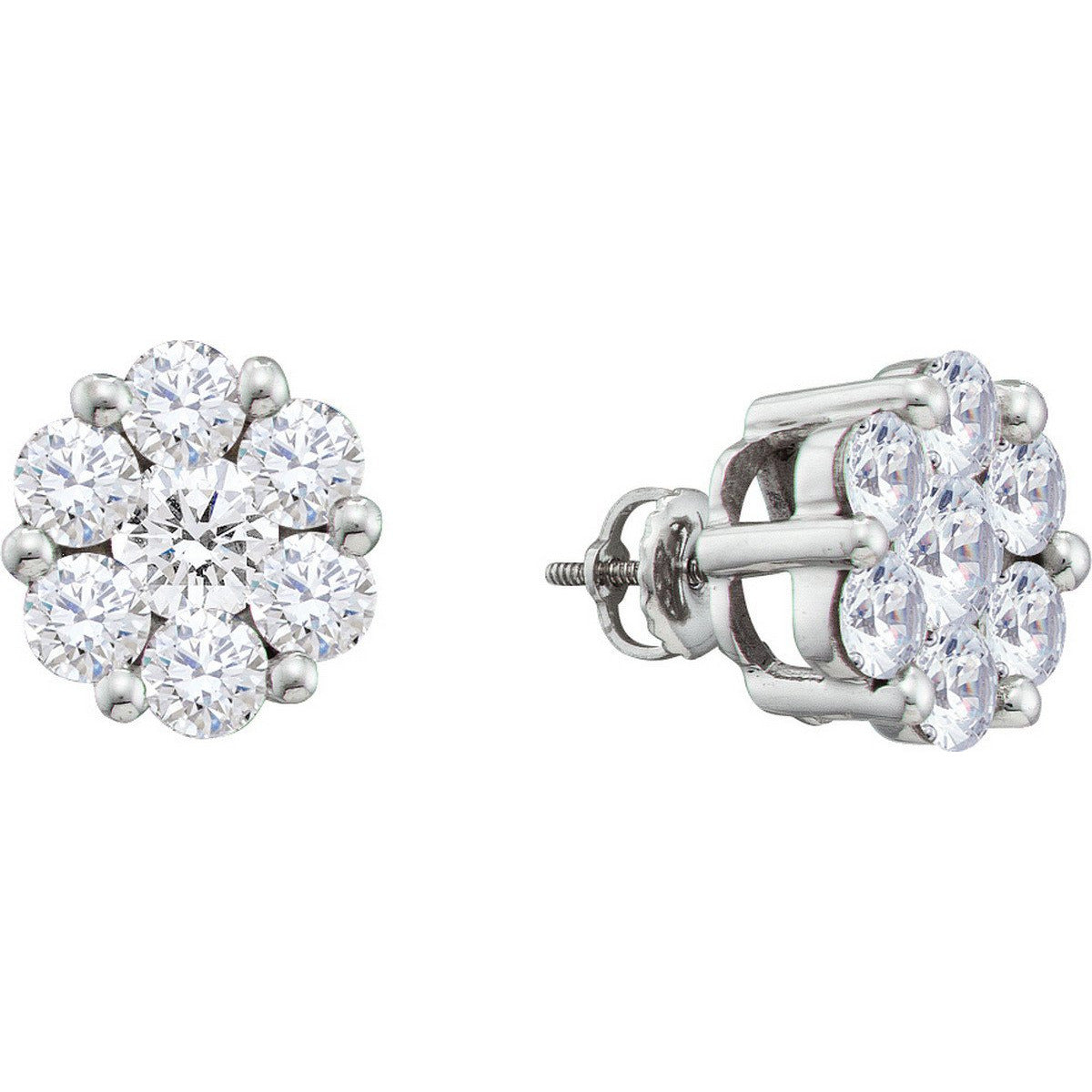 14kt White Gold Womens Round Diamond Flower Cluster Screwback Stud Earrings 2.00 Cttw 12394 - shirin-diamonds