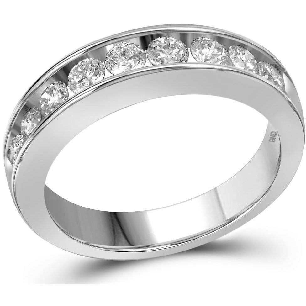 14kt White Gold Womens Round Channel-set Diamond Wedding Anniversary Band 1.00 Cttw 13918 - shirin-diamonds