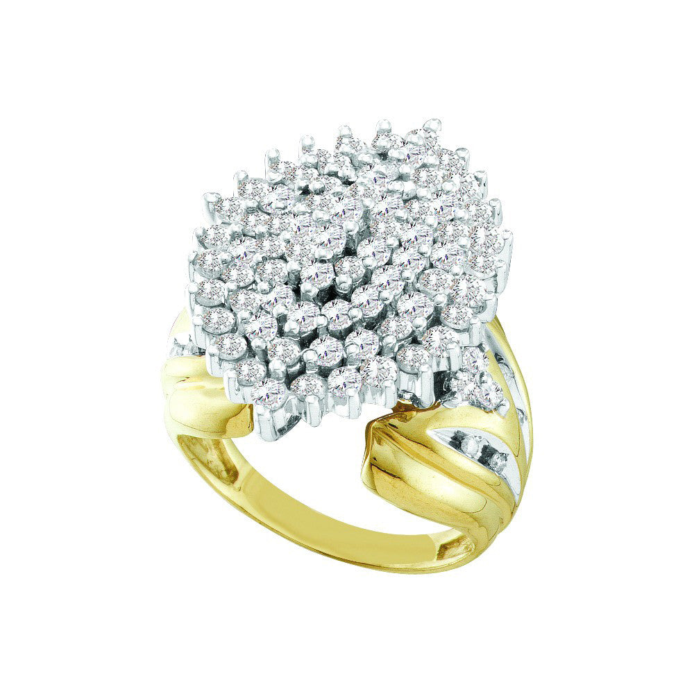 10kt Yellow Gold Womens Round Prong-set Diamond Large Oval Cluster Ring 2.00 Cttw 18466 - shirin-diamonds