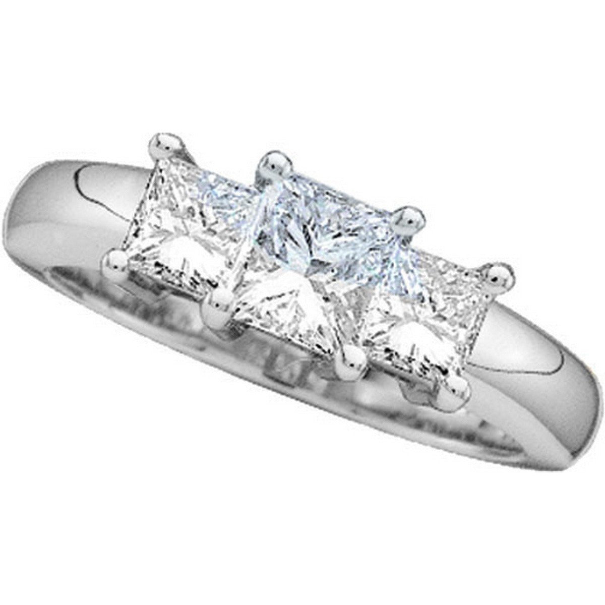 14kt White Gold Womens Princess Diamond 3-stone Bridal Wedding Engagement Ring 3/4 Cttw 19448 - shirin-diamonds