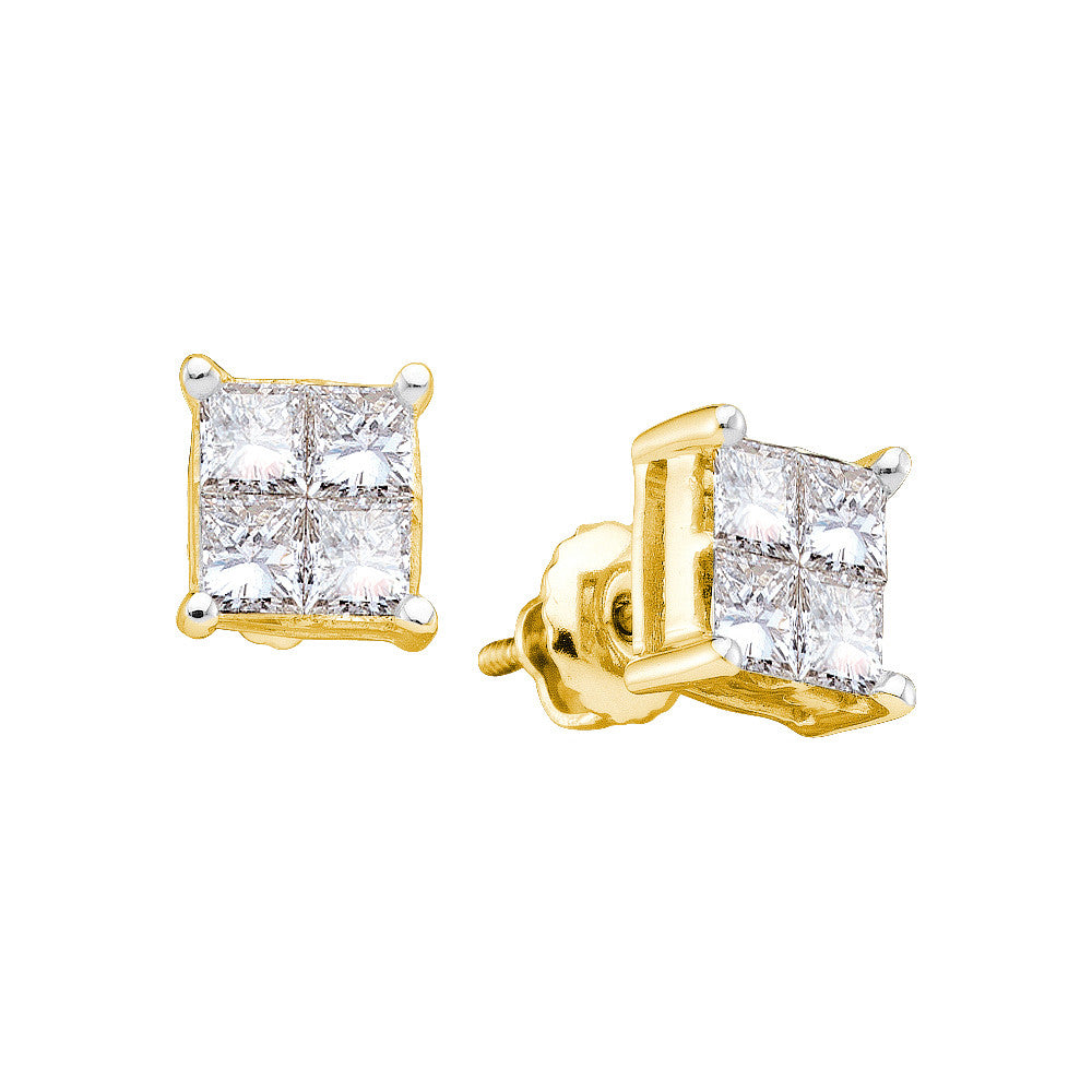 14k Yellow Gold Princess Diamond Unisex Screwback Stud Mens Womens Earrings 1.00 Cttw 19699 - shirin-diamonds