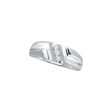 10kt White Gold Mens Round Diamond Band Wedding Anniversary Ring 1/10 Cttw 20380 - shirin-diamonds