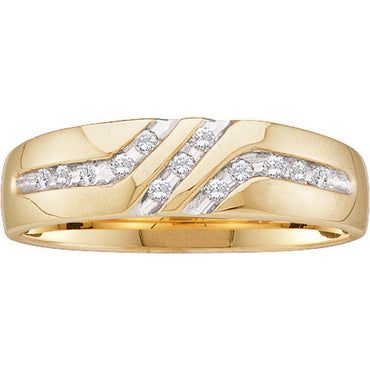10kt Yellow Gold Mens Round Channel-set Diamond Triple Row Wedding Band Ring 1/8 Cttw 21606 - shirin-diamonds