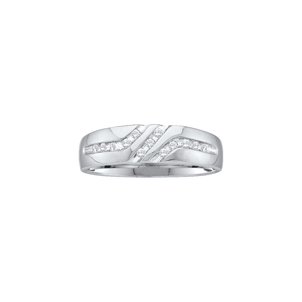 10kt White Gold Mens Round Channel-set Diamond Triple Row Wedding Band Ring 1/8 Cttw 22603 - shirin-diamonds