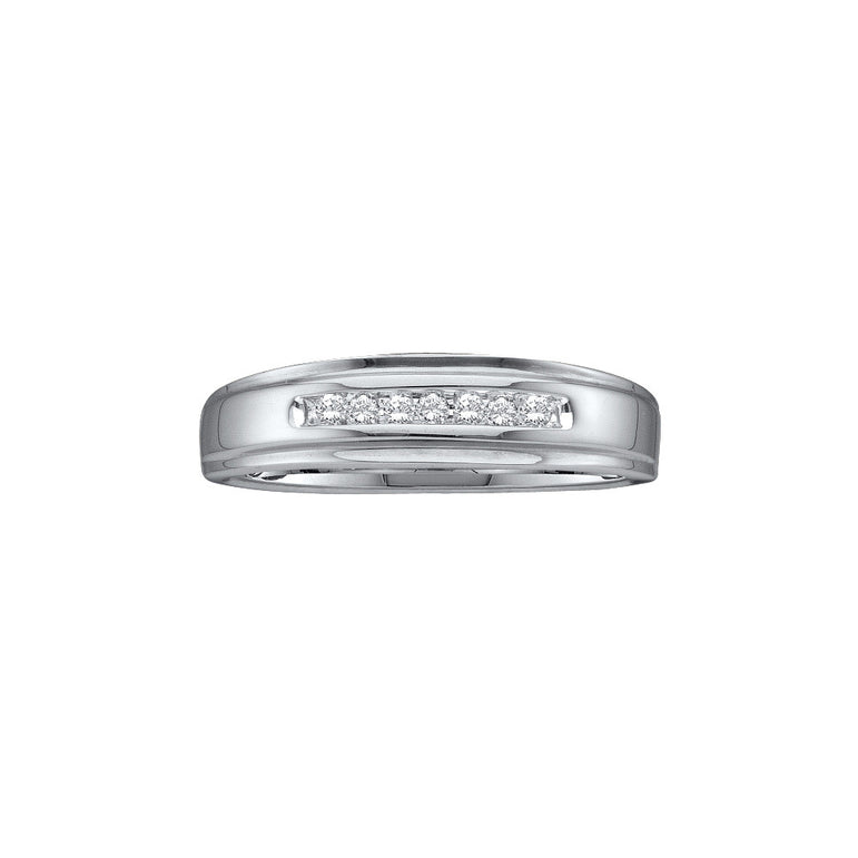 10kt White Gold Mens Round Diamond Channel-set Wedding Anniversary Band Ring 1/12 Cttw 24182 - shirin-diamonds