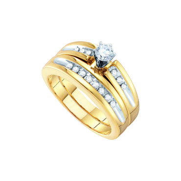 10kt White Gold His & Hers Round Diamond Solitaire Two-tone Matching Bridal Wedding Ring Band Set 1/2 Cttw 26494 - shirin-diamonds