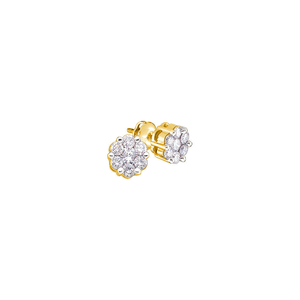14kt Yellow Gold Womens Round Diamond Flower Cluster Screwback Stud Earrings 1.00 Cttw 27948 - shirin-diamonds