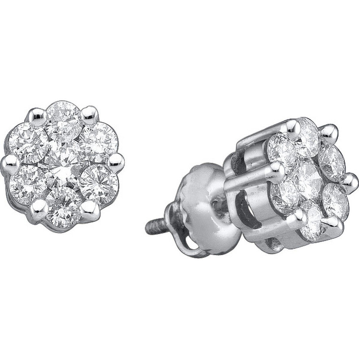 14k White Gold Womens Round Diamond Flower Cluster Screwback Stud Earrings 1.00 Cttw 27949 - shirin-diamonds