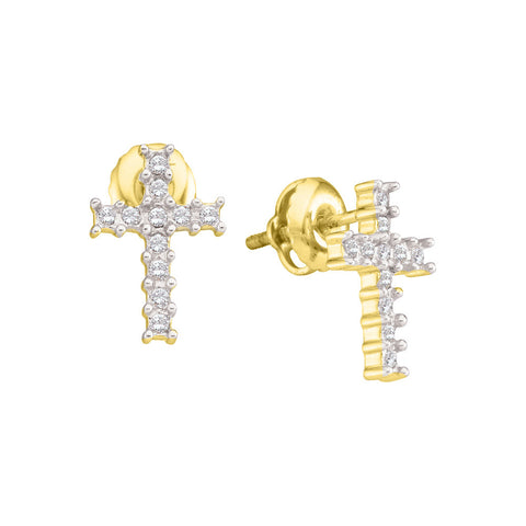 10kt Yellow Gold Womens Round Diamond Cross Earrings 1/10 Cttw 30252
