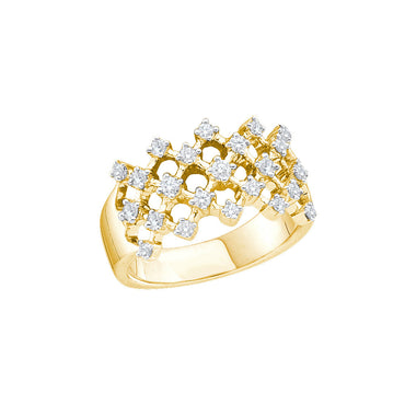 14kt Yellow Gold Womens Round Diamond Lattice Crisscross Band Ring 1/2 Cttw 30298 - shirin-diamonds